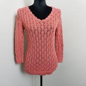 LOFT Crochet Coral Scalloped Edge Sweater M